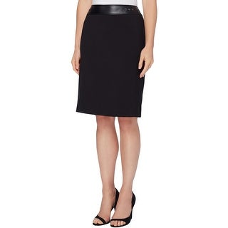 Tahari ASL Womens Petites Pencil Skirt Faux Leather Trim Zipper