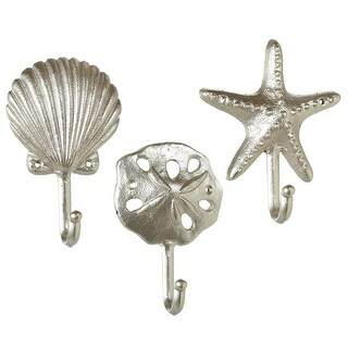 """Set of 6 Silver Colored Glossy Finish decorative Shell Wall Hook 6.75"""""""