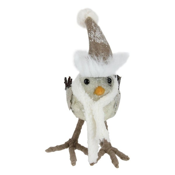 "6"" Standing Bird in Scarf and Santa Hat Christmas Figure Decoration - brown"