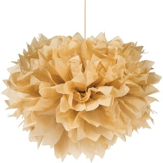 """Club Pack of 36 Kraft Paper Fluffy Hanging Tissue Ball Party Decorations 16"""""""