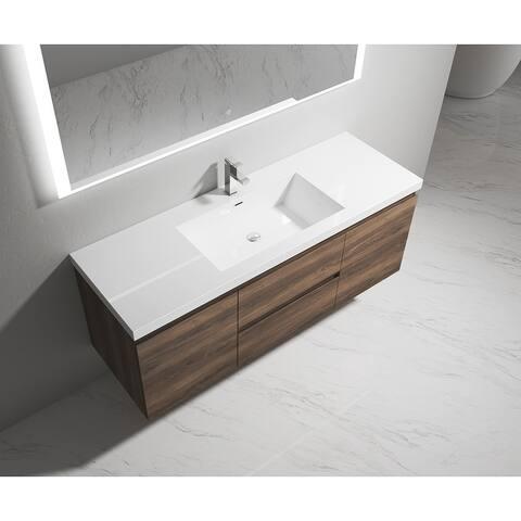 Porch & Den Birdie Wood 60-inch Wall Mount Vanity with Sink