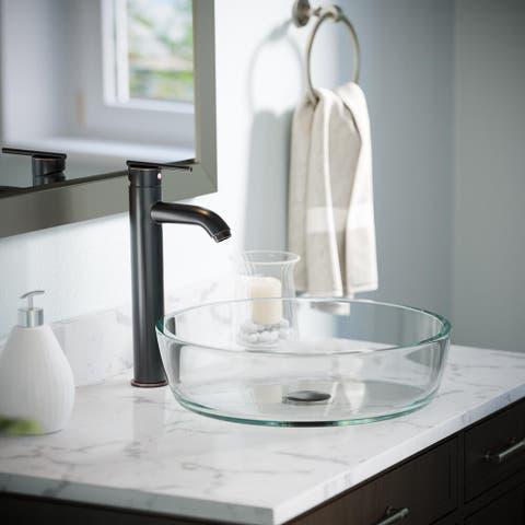 625 Clear Glass Sink, Antique Bronze Faucet, Pop-up Drain
