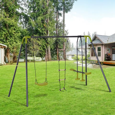 HOMCOM 3 in 1 Kid Swing Set, Double Face to Face Swing Chair & Glider Set, Climbing Ladder A-Frame, Grey and Yellow