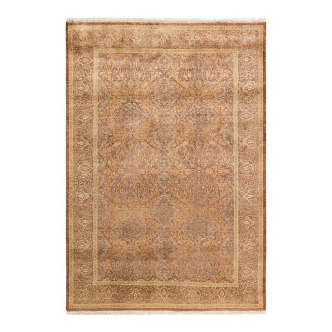 """Mogul, One-of-a-Kind Hand-Knotted Area Rug - Yellow, 4' 3"""" x 6' 1"""" - 4' 3"""" x 6' 1"""""""