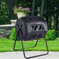 Costway Compost Tumbler 43-Gallon Garden Waste Bin Grass Food Trash Barrel Fertilizer - Black