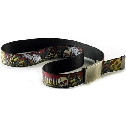 Buckle-Down Web Belt Born to Raise Hell Tattoo 1.5""