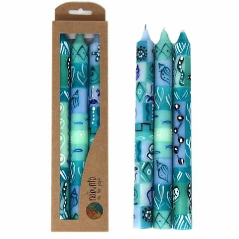 Handpainted Taper Dinner Candles, Samaki Design, Set of 3 (Unscented)