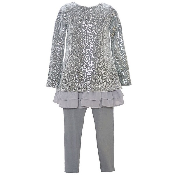 Rare Editions Baby Girls Gray Sequin Embellished Layered Legging Outfit 12M