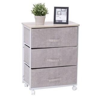 Gymax Fabric 3 Drawer Storage Unit Cart Organizer Shelf Laundry Bedroom Nursery Office - as pic