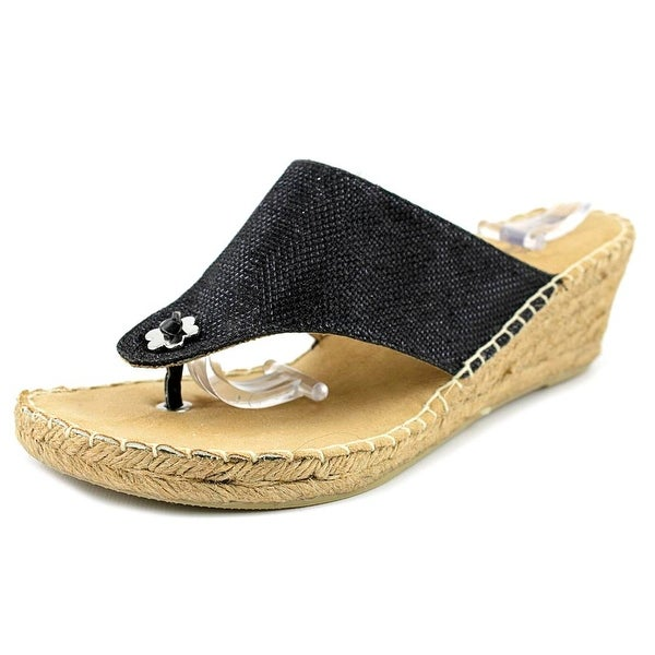 White Mountain Baywatch Women Open Toe Canvas Black Wedge Sandal