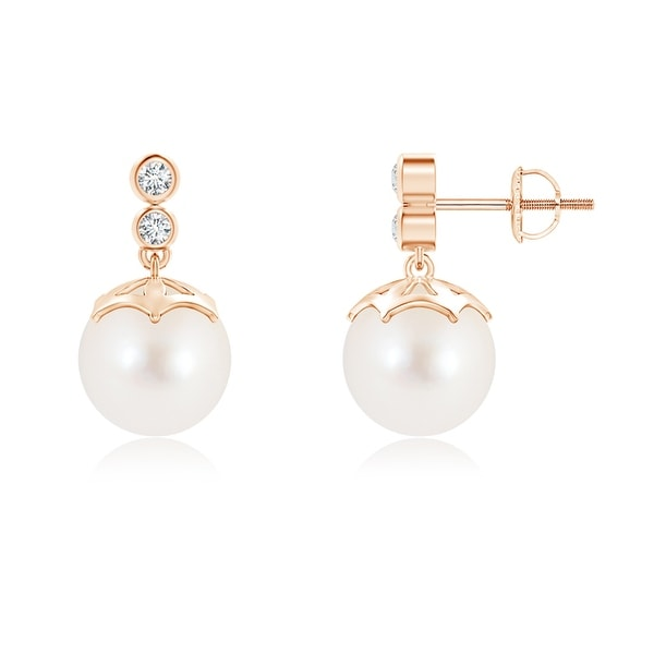 Angara Freshwater Cultured Pearl Drop Earrings with Bezel Diamond