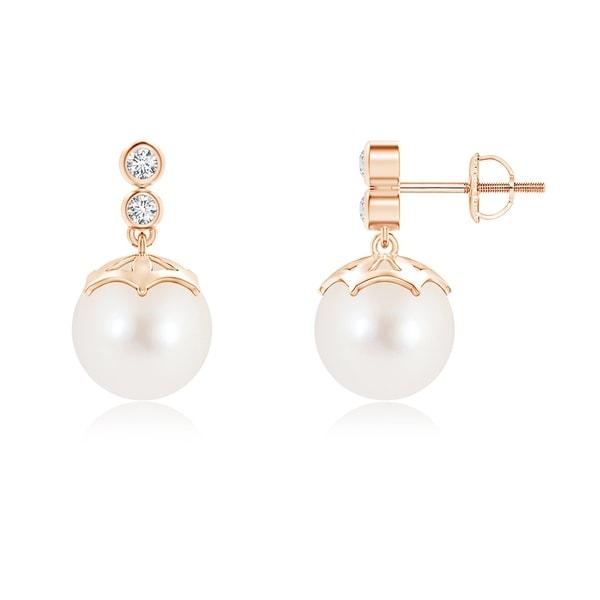 Angara Freshwater Cultured Pearl Drop Earrings with Diamonds 2Ao77criR