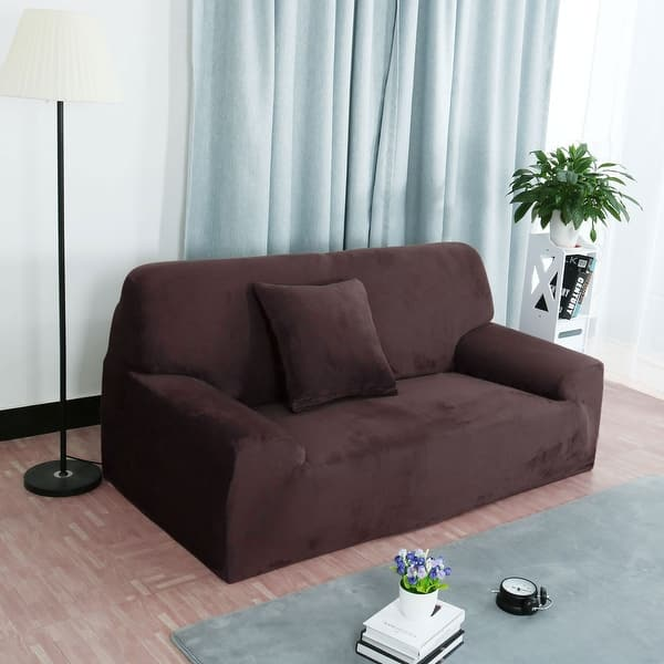 Shop Home 1/2/3/4 Seats Stretch Flannel Sofa Cover Loveseat ...