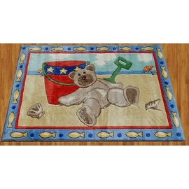 "Jade Reynolds Beach Bear Children Rug Multi-Color Blue Yellow Brown Red Green Base Color Kids Rug Children's (39""X58"" Inches)"