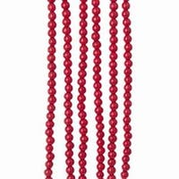 Club Pack of 12 Glossy Finished Cherry Red Bead Decorative Garlands 9'
