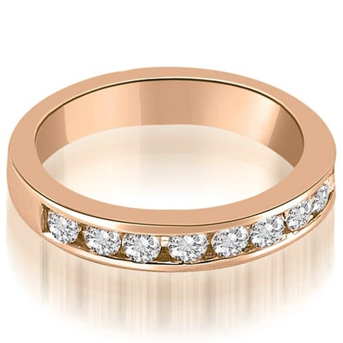 1.00 cttw. 14K Rose Gold Classic Channel Set Round Cut Diamond Wedding Ring