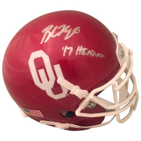a4c26fc9 Baker Mayfield Autographed Oklahoma Sooners Signed Football Mini Helmet  2017 HEISMAN TROPHY Beckett