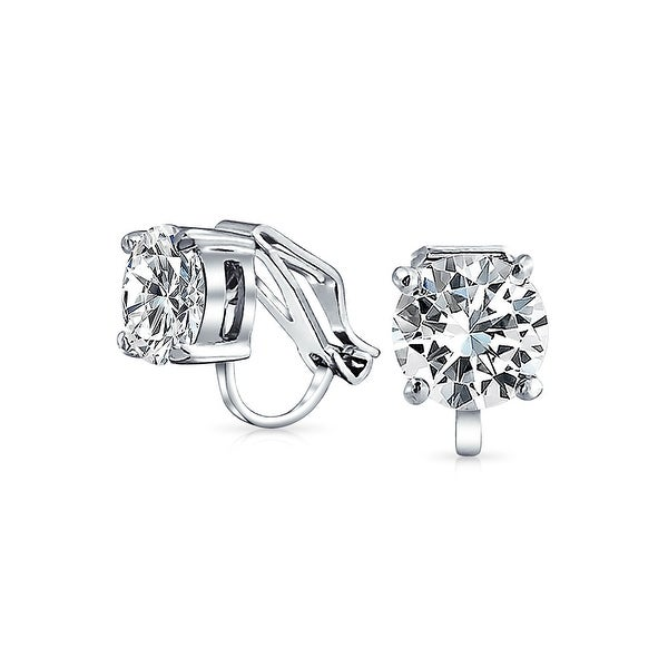 241800d4d10e7 2 CT Brilliant Cut Solitaire Round Cubic Zirconia CZ Clip On Stud Earrings  For Women Non Piercing Silver Plated Brass