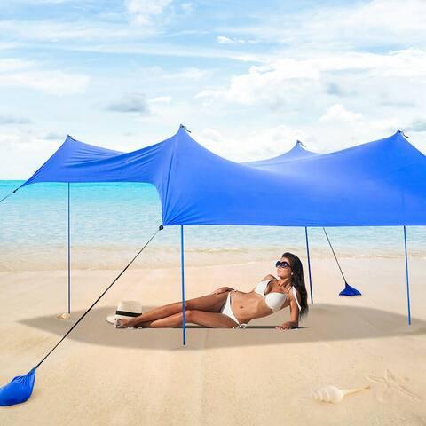 Costway Family Beach Tent Canopy w/ 4 Poles Sandbag Anchors 7'x7'