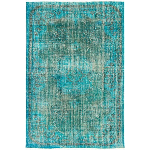 ECARPETGALLERY Hand-knotted Color Transition Teal, Turquoise Wool Rug - 6'0 x 9'0
