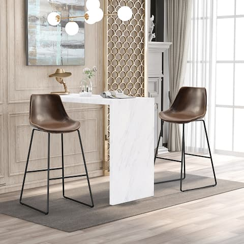 Bar Stools with Back and Footrest Counter Height Dining Chair Set of 2