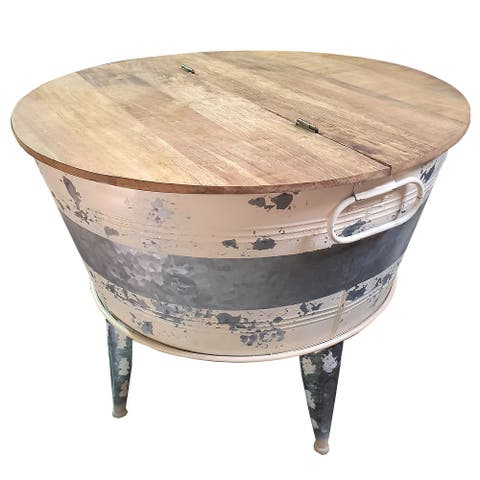 Distressed Metal Framed Cocktail Table with Hinged Lift Top Storage, Brown and Gray