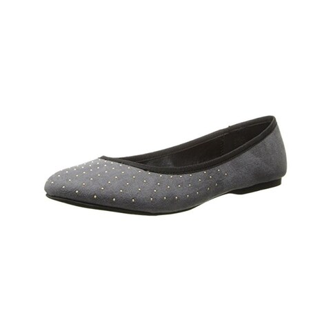 Wild Pair Womens Morton Flats Faux Suede Studded