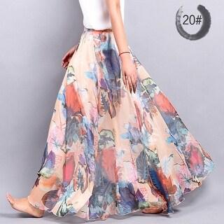 Casual Chiffon Skirt Summer Women Bohemian Floral Print Beach Maxi Pleated Flower Long Skirt