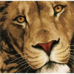 """13.75""""X13.5"""" 27 Count - Lanarte King Of Animals On Cotton Counted Cross Stitch Kit"""