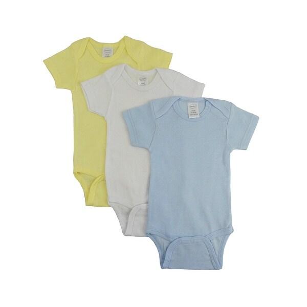 Bambini Boy's Yellow, White, Blue Rib Knit Pastel Short Sleeve Bodysuit