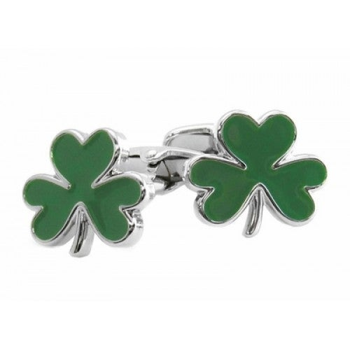 Green 3 Leaf Clover Shamrock Irish St. Patrick's Day Ireland Cufflinks