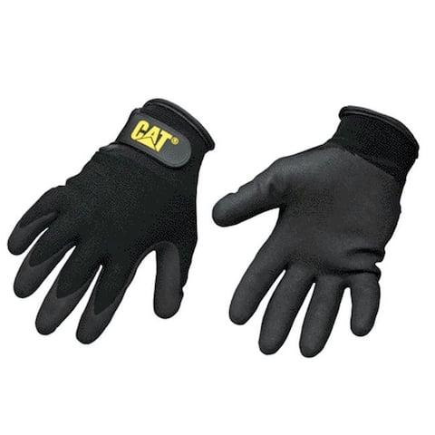 CAT CAT017414L Nylon Coated String Knit Gloves, Black, Large
