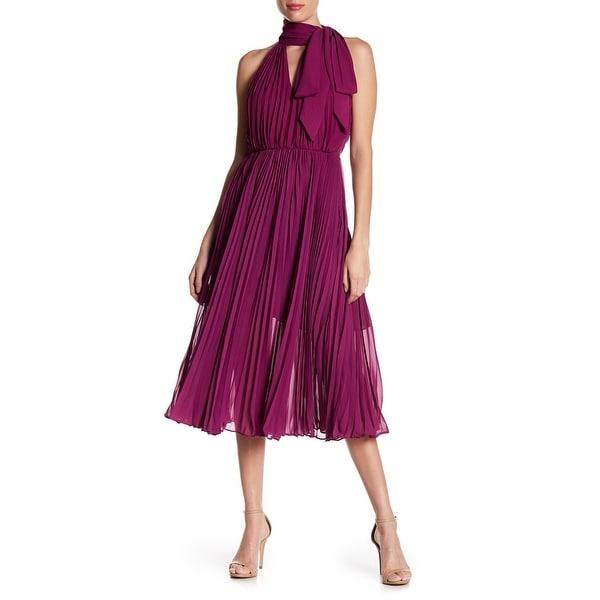 Betsey Johnson Purple Womens 10 Pleated Halter Chiffon A-Line Dress