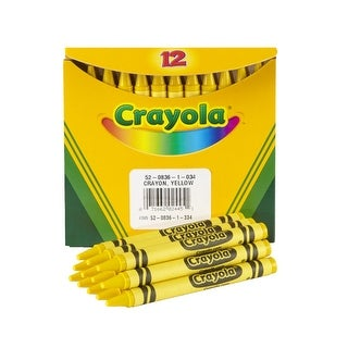 Crayola Non-Toxic Regular Single-Color Crayon Refill, 5/16 X 3-5/8 in, Yellow, Pack of 12