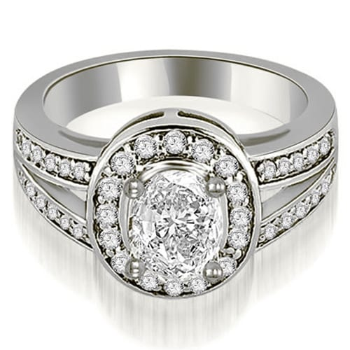 0.80 cttw. 14K White Gold Halo Oval Cut Diamond Engagement Diamond Ring