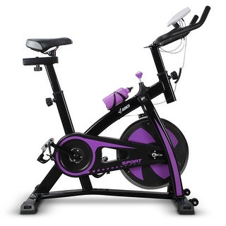 AKONZA Fitness Belt Drive Indoor Cycling Bike - 40 lb Flywheel, Adjustable and Portable Exercise Bicycle, Purple