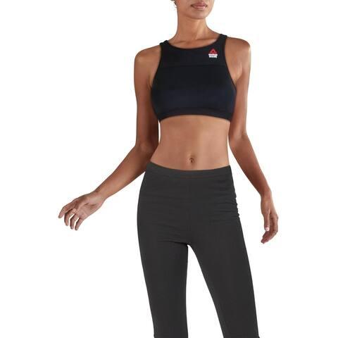 Reebok Womens Tech Sports Bra CrossFit Workout - Black/Black