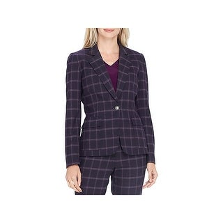 Tahari ASL Womens One-Button Blazer Plaid Suit Separate