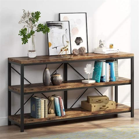 Rustic Console Sofa Table, 3 Tiers Industrial Narrow Long Sofa Table