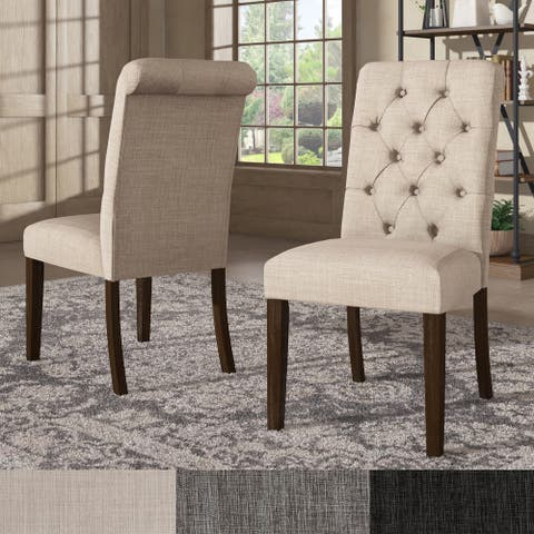 Benchwright Linen Tufted Dining Chair with Brown Finish Legs (Set of 2) by iNSPIRE Q Artisan