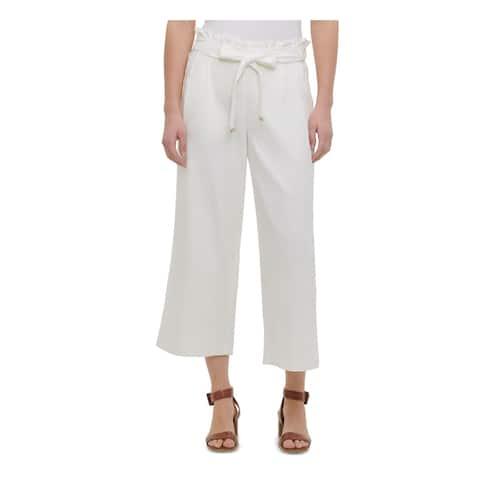 CALVIN KLEIN Womens White Solid Capri Pants Size L