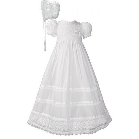 Baby Girls White Cotton Lace Ribbon Short Sleeve Hat Christening Gown