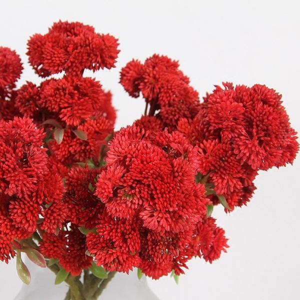 "FloralGoods Artificial Irish Cauliflower Stem in Red 13"" Tall"