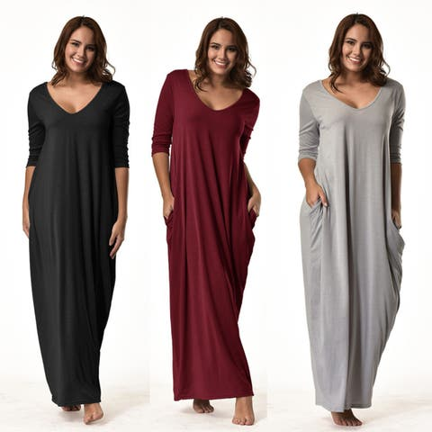 b81bd8d8 Fashion Women Plus Size Dress 3/4 Sleeve V-Neck Casual Long Loose Party