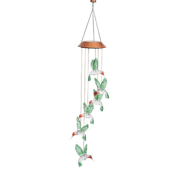 Hummingbird Mobile - Solar Powered LED Lighted Outdoor Patio Garden Decor