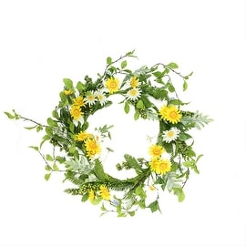 "24"" Decorative White and Yellow Field Daisy  Blossom and Berry Artificial Floral Wreath - Unlit"