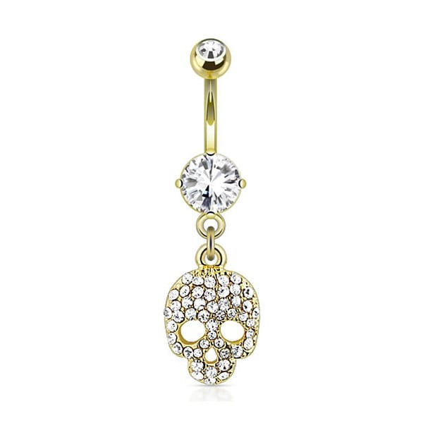 Multi Paved Gems Skull Dangle gold-plated Navel Belly Button Ring