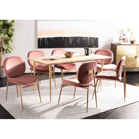 "Safavieh Jordana 18"" Round Side Chair -Dusty Rose / Gold (Set of 2) - 21"" x 24.5"" x 33"""
