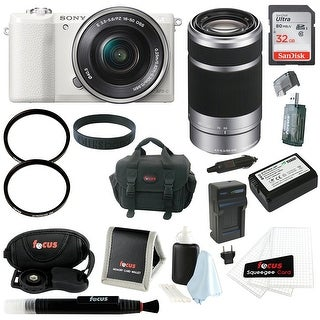 Sony Alpha 24MP 16-50mm Camera (White) + 55-210mm Zoom Lens & Accessory Kit