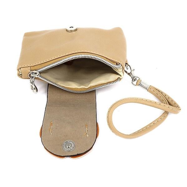 Women Detachable Wrist Strap Bowknot Decor Faux Leather Purse Bag - Beige